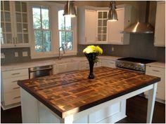Reclaimed Wood Kitchen Island Tops ~ Http://modtopiastudio.com/ideas