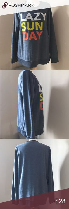 Lazy Sunday Sweatshirt Worn and washed once so it's like new. Heather navy, very soft and warm. Exposed stitching on neck area. Perfect condition. Tops Sweatshirts & Hoodies