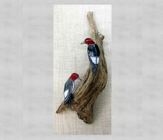 Red Headed Woodpecker Pair Birds Stained Glass Wall by BerlinGlass