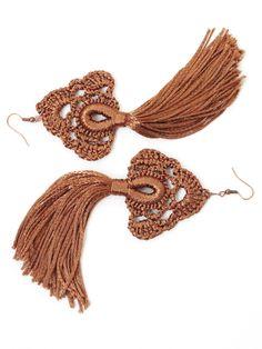 Crochet jewelry 490259109433902049 - Tassel earrings Crochet jewelry Long dangling earrings Blue brown gray Hippie Gypsy Boho chic Bohemian wedding bridesmaid gifts Festival Source by evelynelefevre Blue Tassel Earrings, Brown Earrings, Diy Earrings, Crochet Earrings, Macrame Earrings, Crochet Jewelry Patterns, Crochet Accessories, Embroidery Floss Crafts, Tatting Jewelry