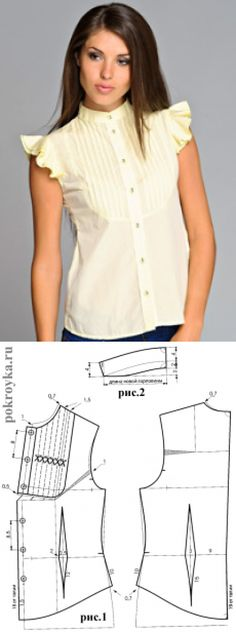 Выкройка блузки со вставкой-пластроном | | pokroyka.ru-уроки кроя и шитья