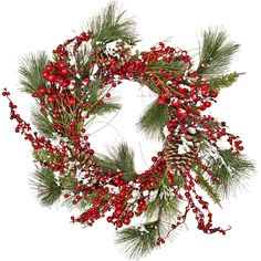 Found it at Wayfair - Snowy WP Berry Pine, Pine Cone, Wreath