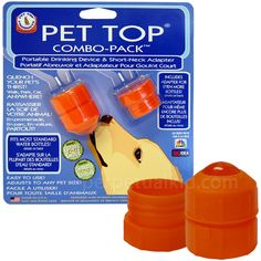 PET TOP PORTABLE DRINKING COMBO PACK  -- Our Pet Top Portable Drinking Combo Pack is a must have accessory anytime you are away from home! What?... you don't carry a water bowl in your purse?... no problem! Just twist this easy to use gadget onto a water bottle and your faithful pet can enjoy a drink anytime - without a mess!