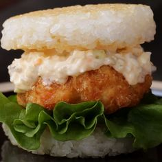 Shrimp Katsu Rice Burger Recipe by Tasty Rice Burger Recipe, Burger Recipes, Egg Recipes, Asian Recipes, Cooking Recipes, Sushi Recipes, Shrimp Recipes For Dinner, Shrimp Recipes Easy, Dessert Chef