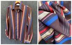 70s Kings Road Shirt Brown Striped Shirt Long Sleeve Button | Etsy Striped Long Sleeve Shirt, Long Sleeve Shirts, Butterfly Kids, Kids Apron, Vertical Stripes, Buy Shoes, Vintage Shirts, Plaid Scarf, Navy Blue