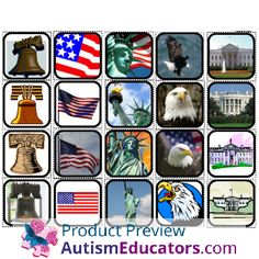 American Symbols Matching and Sorting for Autism: Inspired by Evan Autism Resources.