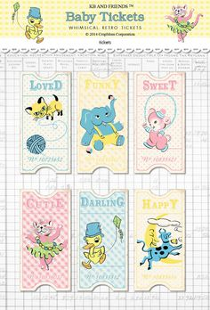 Digital retro baby tickets / vintage animals / by KBandFriends. These tickets would be perfect for  a raffle at a baby shower. Each guest writes their name on the back of a ticket, and then you hold a drawing for prizes.