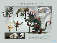 Design of the monster-The lizard man, Xuexiang Zhang on ArtStation at https://www.artstation.com/artwork/design-of-the-monster-the-lizard-man