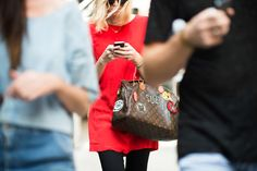 This customized Speedy handbag was spotted in the streets of New York during the Fashion Week Spring 2015 - Photography by Adam Katz Sinding