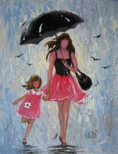 Rain Girls Original Oil Painting  Vickie Wade by VickieWadeFineArt, $85.00