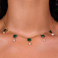 Emerald Pendant, Emerald Necklace, Emerald Jewelry, Green Necklace, Necklace Set, Gold Necklace, Pearl Jewelry, Beaded Jewelry, Cute Jewelry