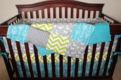 Gray Deer, Apache Blue Arrow, Lime Chevron, and Gray Crib Bedding Ensemble by DesignsbyChristyS on Etsy https://www.etsy.com/listing/236857243/gray-deer-apache-blue-arrow-lime-chevron