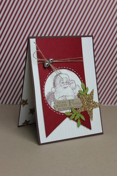 """Love the Santa in the circle cutout - Weihnachtskarte """"Christmas Star"""" - Stampin' Up!"""
