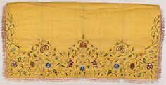 Apron. England, ca. 1740. Silk taffeta, with applied silk fringe and silk embroidery. LACMA Collections: M.79.96