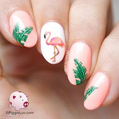 PiggieLuv: Hot flamin' flamingo nail art