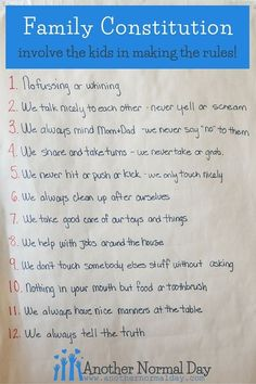 Great idea for making family rules! Kids are so much more invested in following the rules when they get to participate in making them. This is how a family with two sets of twins made a family constitution.