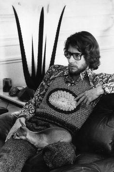 Monsieur Yves Saint Laurent wearing a crochet vest in his home in Paris in 1970.