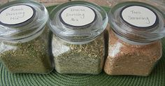 Homemade Ranch Dressing Mix, Italian Seasoning Mix & Taco Seasoning-Recipes make dry mix and then tell what to add to make dressings, etc.