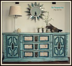 Painted Dresser, Blue and Teal Vintage Dresser by theTurquoiseIris on Etsy, $495.00