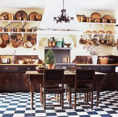 bhg I've long since admired a copper pot collection. Seeing them hanging on a wall... Velvet and Linen ...or gathered togeth...