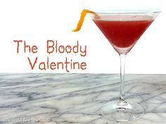 Blood orange juice, blood orange liqueur and bourbon make for a delicious cocktail. The seasonal citrus makes this is just right for Valentines day, if you have a little sense of humor, and the macabre.