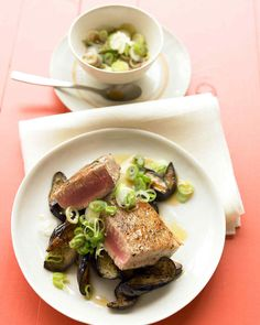 Ginger and scallions season pan-seared eggplant and tuna steaks in this quick-cook meal.