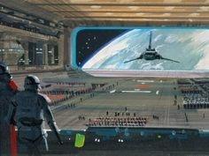 ROTJ: Ralph McQuarrie color composition of Darth Vader's arrival on the second Death Star.  (Widescreen image unavailable at this time.)