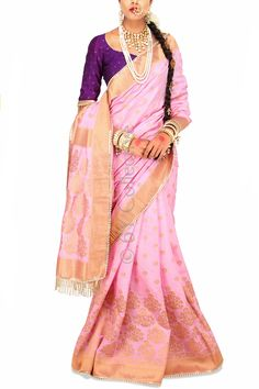 Lotus Pink Brocade Sari with Purple (Code - S1713) Price: INR 6790 To shop visit: http://www.6ycollective.com/products/S1713/