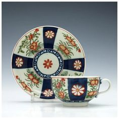 Worcester Queens Pattern Tea Cup and Saucer c1770