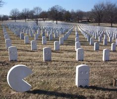 Found a photoshop job online: Pac-Man Cemetery Headstones, posted on www.foundshit.com. Base image was Arlington National Cemetery, which is obviously controversial, but for the record...