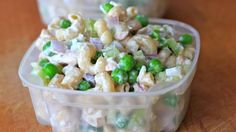 Clean Eating Tuna Pasta Salad 1 cup diced onion 1 cup diced celery 2 cans of chunk light tuna packed in water and drained 3 cups, pre-cooked whole grain pasta 1 cup frozen peas, defrosted 2 tbsp mayo 1/2 cup fat free plain Greek yogurt 1 tbsp red wine vinegar Salt and pepper to taste