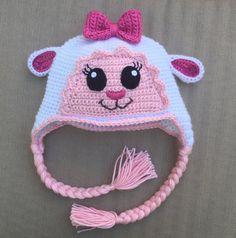 Lambie hat crochet pattern by Ambercraftstore on Etsy Crochet Animal Hats, Crochet Kids Scarf, Crochet Baby Hats, Crochet Beanie, Crochet For Kids, Free Crochet, Knit Crochet, Crochet Stitches, Crochet Patterns
