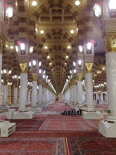 Inside of the Al-Masjid al-Nabawi, Medina, Saudi Arabia / Hats off to the blessed people who maintain this mosque 24/7