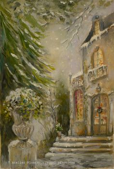 Victorian snow scene   Hotel particulier in Paris  par HelenFlont,