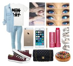 """""""Sem título #537"""" by lilianalves ❤ liked on Polyvore featuring mode, Fresh, Converse, Monday, Wet Seal et Chanel"""