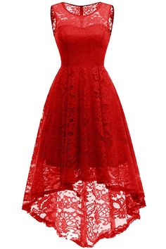 You should take a look at this Vintage Floral Lace Sleeveless Hi-Lo Cocktail Formal Swing Dress. Red Bridesmaid Dresses, Red Wedding Dresses, Lace Bridesmaid Dresses, Prom Party Dresses, Lace Dresses, Long Summer Dresses, Short Dresses, Dress Long, Lace Dress With Sleeves