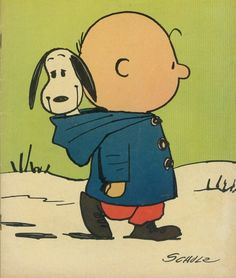 Snoopy in Charlie brown's hoodie..