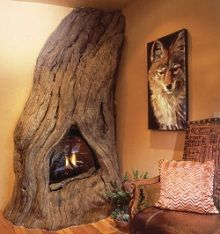 Tree trunk fireplace- Wow! I'm thinking I'm gonna need a fireplace in every room at this rate!! ;-)