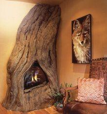 ✿ڿڰۣ(̆̃̃❤Aussiegirl #Fires    Tree trunk fireplace