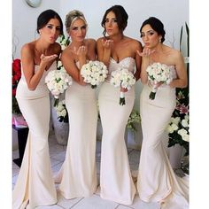bridesmaids in neutral colored dresses