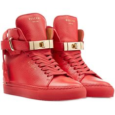 Buscemi Leather Wedge Sneakers (1,720 SAR) ❤ liked on Polyvore featuring shoes, sneakers, sapatos, red, red sneakers, buscemi sneakers, leather wedge sneakers, high top sneakers and high top wedge sneakers