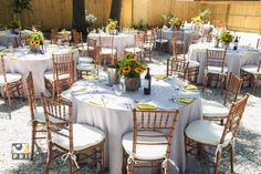 beautiful table design using silver bengaline and taxi cab yellow.  Great color contrast for a natural outdoor setting