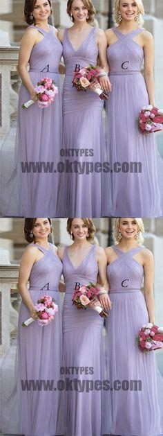 2018 Lavender Bridesmaid Dresses Cheap Long Bridesmaid Dresses, Tulle Long Bridesmaid Dresses, TYP0399 #bridesmaiddresses