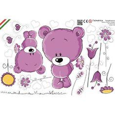 Maci virágokkal, lila baba falmatrica, medvebocs