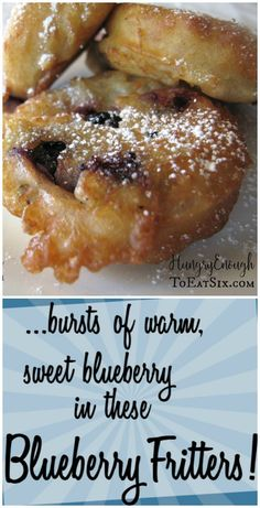 - Blueberry Fritters Make this easy, warm fritters for breakfast or a snack today! These Blueberry Fritters taste like a cross between pancakes and fried dough. Donut Recipes, Pastry Recipes, Fruit Recipes, Sweet Recipes, Dessert Recipes, Cooking Recipes, Recipies, Blueberry Recipes, Blueberry Fritters Recipe