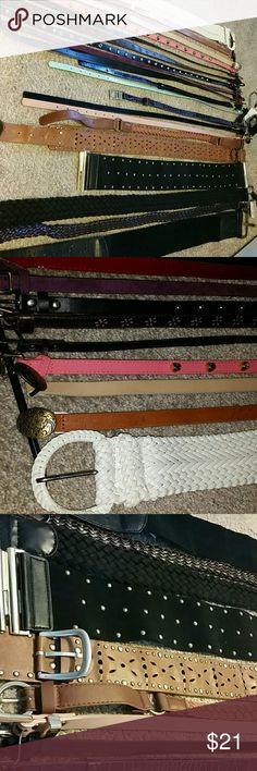 Belts - 20 variety Multiple brands and length. All are basically for size Small. Two by Limited are completely adjustable. They're pretty cool, you tug on them to adjust for the exact size, so you can wear it on the jeans or as a waist belt. Brands include, H&M, Limited, Forever 21, American Eagle (3). Two still have the tags on them, adds up to 12 dollars for just those two.  This is a steal! Help me clean out my closet :) Accessories Belts