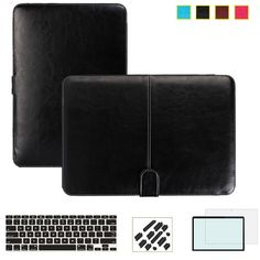 Business Smart Holster PU leather Bag Case Cover for Apple Macbook Air Pro Retina 11 12 13 15 inch Full Protective Leather case