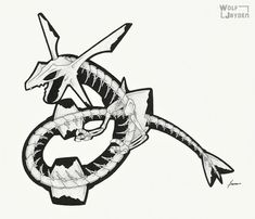 Skeletal Rayquaza by WolfJayden on DeviantArt Ghost Pokemon, Pokemon Gif, Realistic Drawings, Cool Drawings, Fossil Pokemon, Pokemon Sketch, Aztec Tattoo Designs, Skeleton Drawings, Original Pokemon