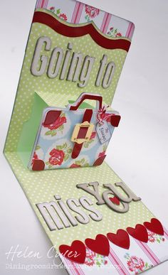 'Going To Miss You' 3-D Suitcase Pop 'n Cuts Card