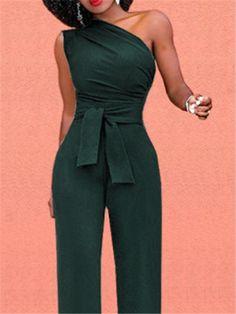 84b1fd885113 Casual Oblique Shoulder Jumpsuit